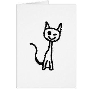 まばたきしている黒猫 カード