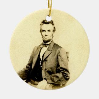 まれなエイブラハム・リンカーンSTEREOVIEW大統領のヴィンテージ セラミックオーナメント
