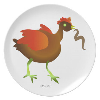 みみずを持つ漫画の赤い雌鶏は芸術のプレートを様式化しました プレート