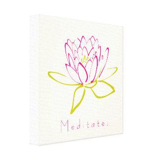 めい想して下さい。 はすの花/スイレンの絵 キャンバスプリント