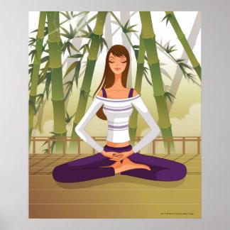 めい想する蓮華座に坐っている女性 ポスター