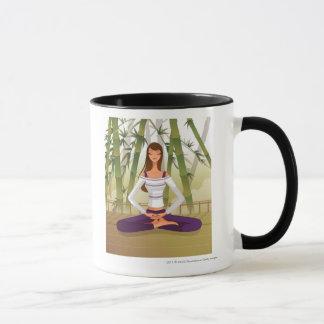 めい想する蓮華座に坐っている女性 マグカップ