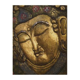 めい想を祈っている金仏の閉まる目 ウッドウォールアート