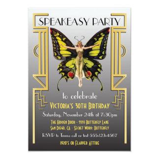 もぐり酒場のフラッパーの素晴らしいGatsbyのパーティの招待状 12.7 X 17.8 インビテーションカード