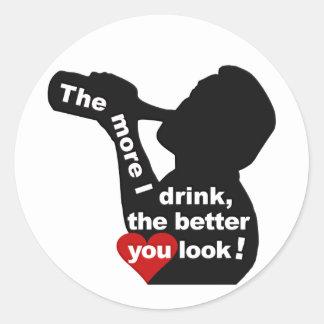 もっと私はステッカーを飲みます ラウンドシール