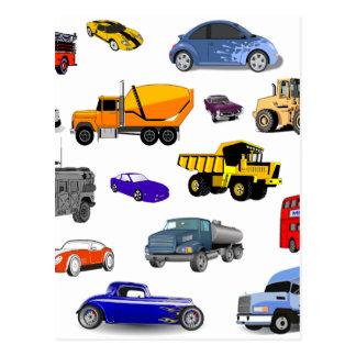 もっと車のトラックの普通消防車のブルドーザーバスレースカー ポストカード