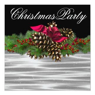 もみの大枝のPineconeの赤い白黒のクリスマス・パーティ カード
