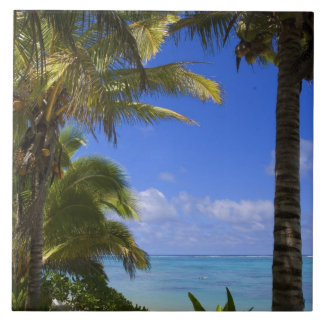 やしによって並べられるビーチのクック諸島2 タイル