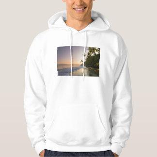 やしによって縁を付けられるビーチ、コスタリカの日没 パーカ