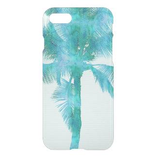 やしシルエットの青い水彩画の背景の質 iPhone 8/7 ケース