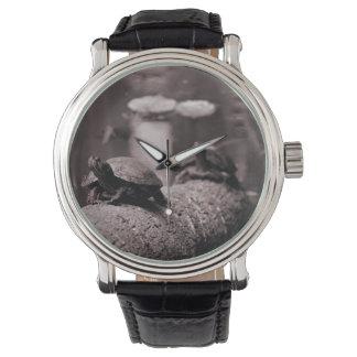 やしトランクのセピア色の2匹のカメ 腕時計