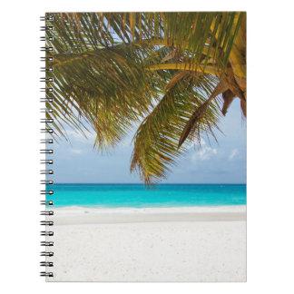 やし枝木の熱帯島の砂の海を浜に引き上げて下さい ノートブック