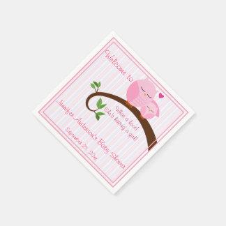 やじり声! ピンクのフクロウのベビーシャワーのナプキン スタンダードカクテルナプキン