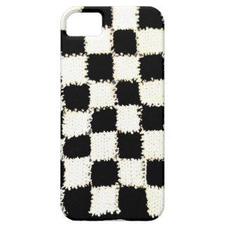 やっとそこにiPhone 5/5Sの場合w/Checkeredのかぎ針編み iPhone SE/5/5s ケース