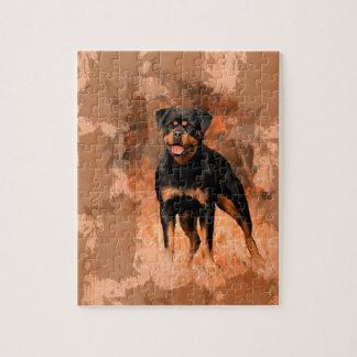 やっとロットワイラー犬の油絵の水彩画の芸術 ジグソーパズル