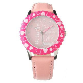 やる気を起こさせるで感動的な単語-幸せがの愛あって下さい、 腕時計
