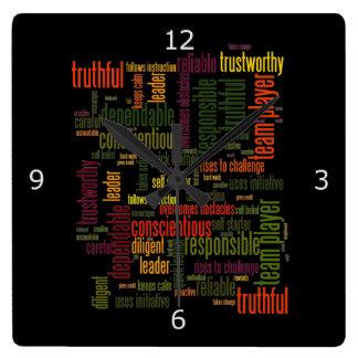 やる気を起こさせるな単語#4の陽性の価値 スクエア壁時計