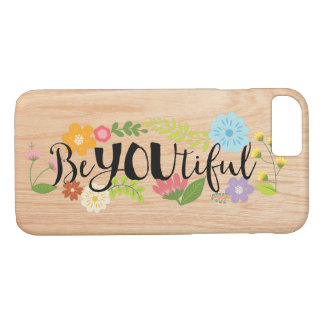 """やる気を起こさせるな引用文""""BeYOUtiful""""のBoho花柄のタイプ iPhone 8/7ケース"""