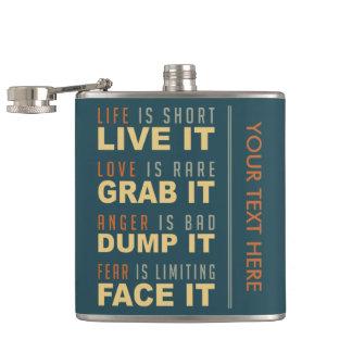 やる気を起こさせるな生命アドバイスのカスタムのフラスコ フラスク