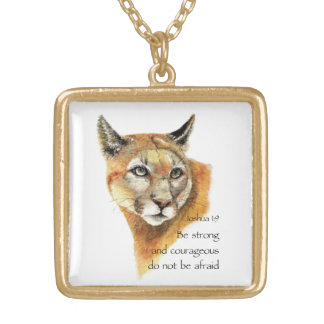 やる気を起こさせるな聖なる書物、経典のジョシュアのクーガー動物の芸術 ゴールドプレートネックレス