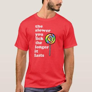 ゆっくり舐めますより長くそれは持続します Tシャツ