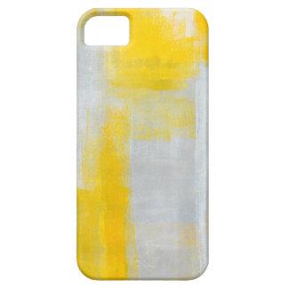 「ゆとり」の灰色および黄色の抽象美術 iPhone 5 カバー