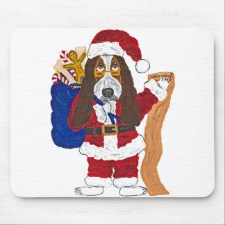 よいバセット犬のバセット犬のサンタのチェックリスト マウスパッド