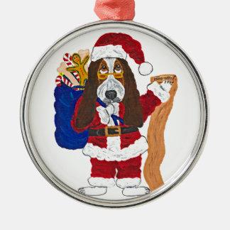 よいバセット犬のバセット犬のサンタのチェックリスト メタルオーナメント