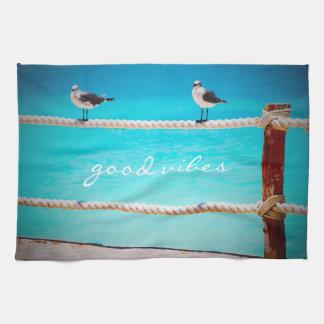 """""""よい感情""""の幸せなビーチの鳥の写真の台所タオル キッチンタオル"""