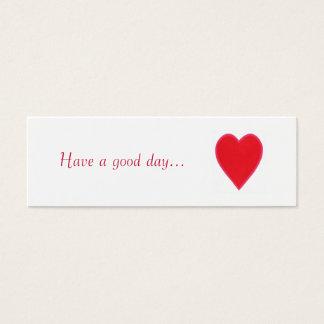 よい日を過して下さい。、赤いハートのギフトは、遠くになカードを与えます スキニー名刺