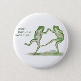よい時間のカエルのダンスのヴィンテージ 5.7CM 丸型バッジ