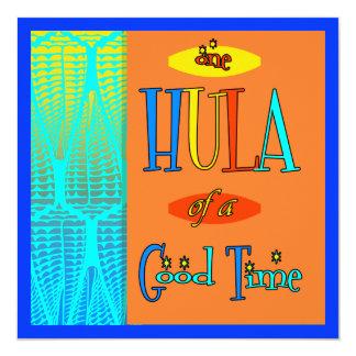 よい時間の招待状の赤いレトロのルアウ(ハワイ式宴会)のフラ カード