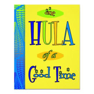 よい時間の招待状の黄色いレトロのルアウ(ハワイ式宴会)のフラ 10.8 X 14 インビテーションカード