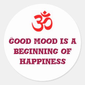 よい気分は幸福の始めです ラウンドシール