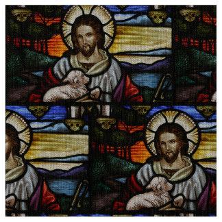 よい羊飼い; ステンドグラスのイエス・キリスト ファブリック