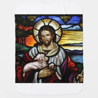 よい羊飼い; ステンドグラスのイエス・キリスト ベビー ブランケット