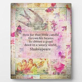 よい行為についてのシェークスピアの感動的な引用文 フォトプラーク