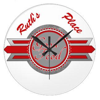 よい食糧レトロのスタイルのRestaurauntの時計 ラージ壁時計