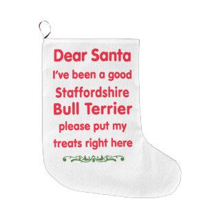 よい(犬)スタッフォードのブルテリア ラージクリスマスストッキング