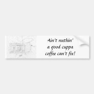 よいcuppaの修理するコーヒーの缶nuthinはありません! バンパーステッカー