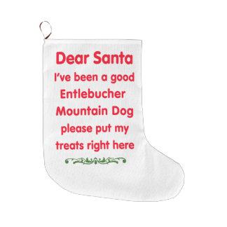 よいEntlebucher山犬 ラージクリスマスストッキング