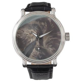 よくはしゃぐなデーブの黒いヴィンテージの革Straped 腕時計