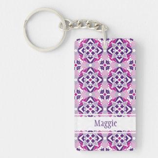 よくはしゃぐなピンクの紫色および白い万華鏡のように千変万化するパターンのデザイン キーホルダー
