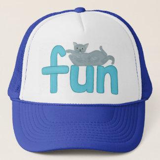 よくはしゃぐな灰色猫、帽子が付いている水のおもしろいの単語 キャップ