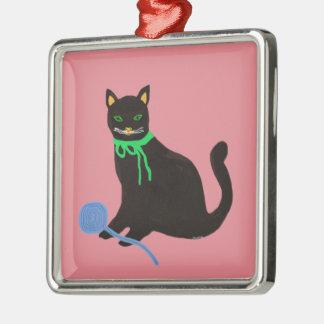 よくはしゃぐな猫 メタルオーナメント