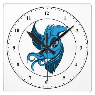 よくはしゃぐな2つは青い鳥にある調子を与えました スクエア壁時計
