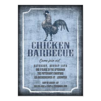 よく古いファッションの鶏のバーベキューによって老化させる招待状 カード