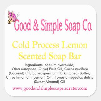 よく、シンプルな石鹸のラベルレモン石鹸 スクエアシール
