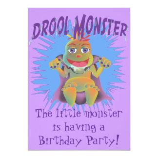 よだれモンスターの誕生日のパーティの招待状 カード