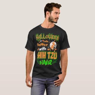 よのハロウィンの好みシーズー(犬)のTzuの犬の毛のティーと Tシャツ
